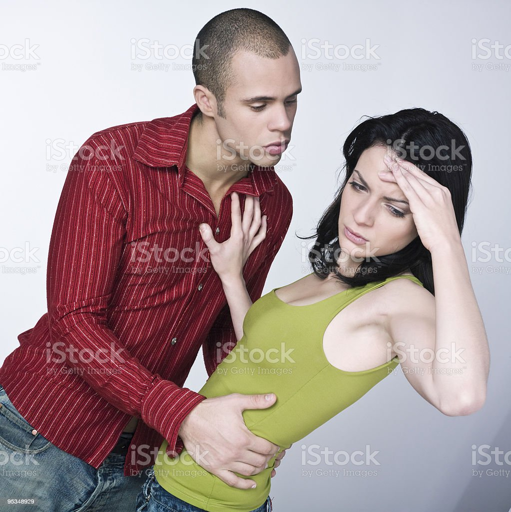 young couple conflict royalty-free stock photo