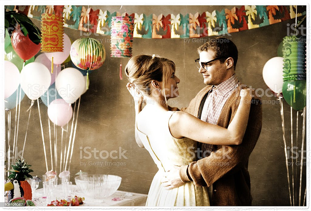 Young Couple Dancing at Party stock photo