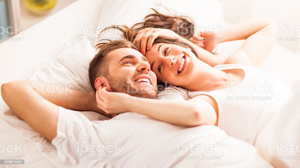 Young couple daydreaming stock photo
