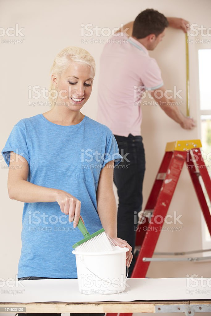Young Couple Decorating Home Together royalty-free stock photo