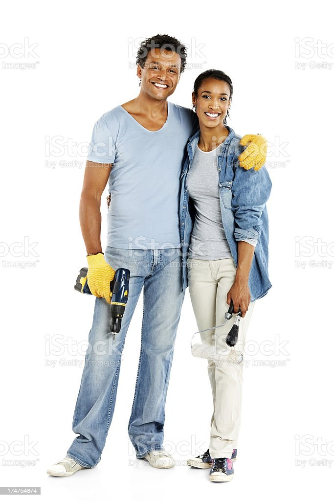Young couple doing home repairs royalty-free stock photo