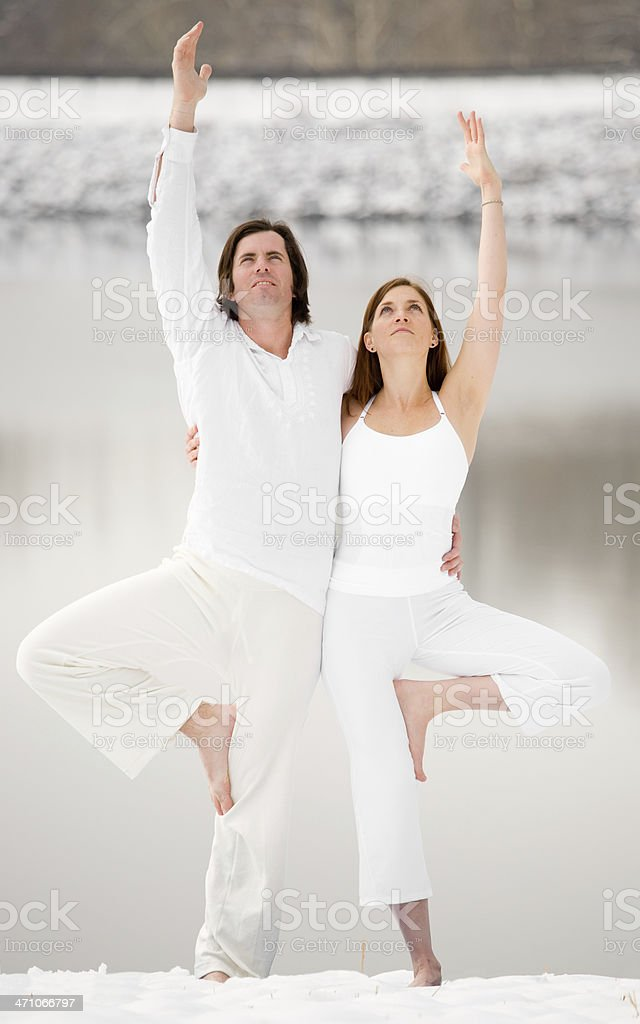 Young Couple doing Yoga in the Snow royalty-free stock photo