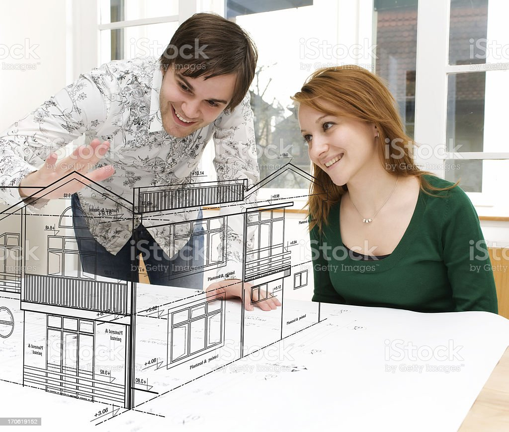 Young couple dreaming about a house royalty-free stock photo