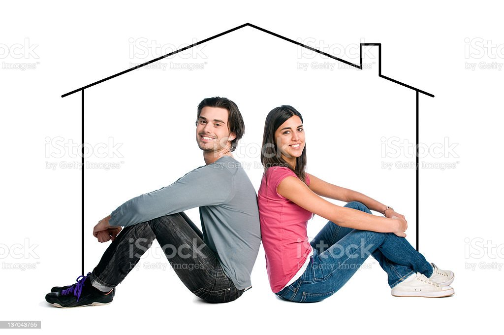 Young couple dreaming new house royalty-free stock photo
