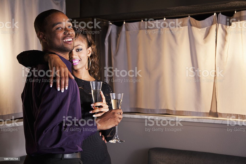 Young couple drinking champagne royalty-free stock photo