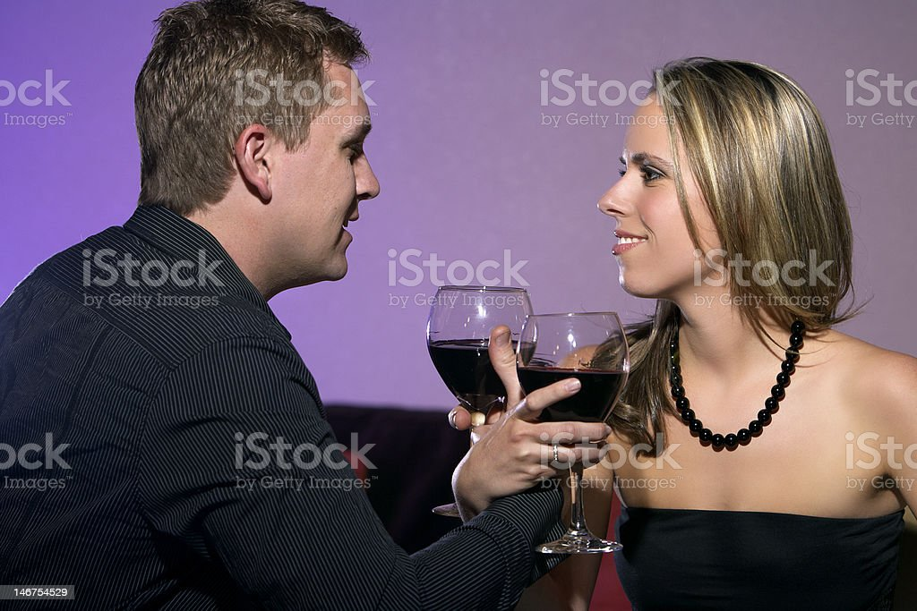 Young Couple Drinking Wine royalty-free stock photo