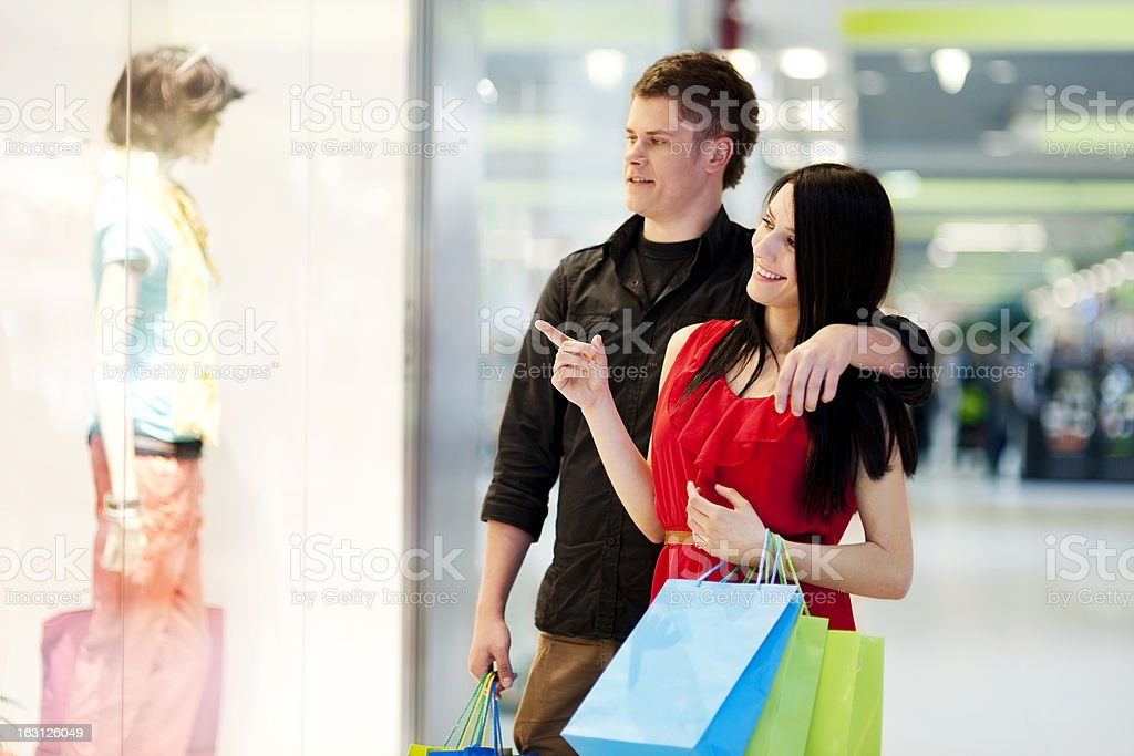 Young couple during shopping royalty-free stock photo