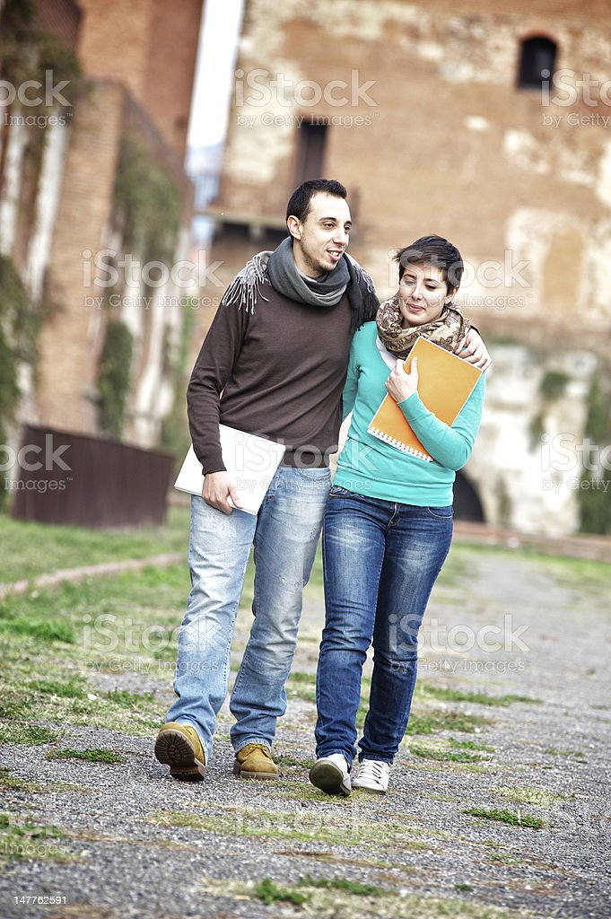 Young Couple Embraced at College royalty-free stock photo