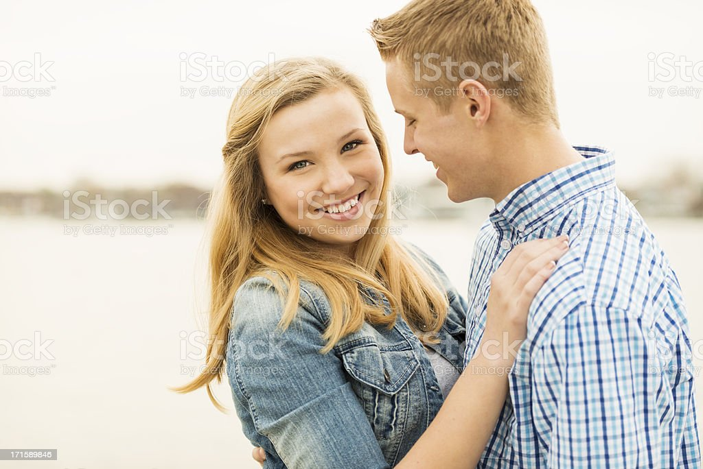 Young Couple Embracing with Copy Space Horizontal stock photo