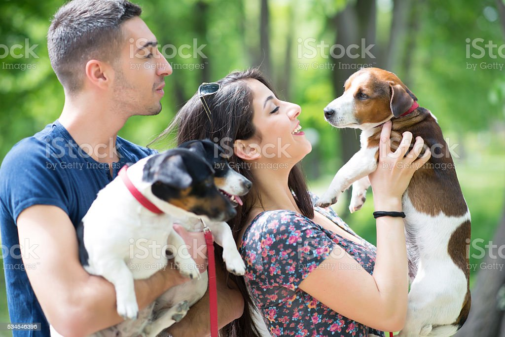 Young couple enjoy in park with his dogs stock photo