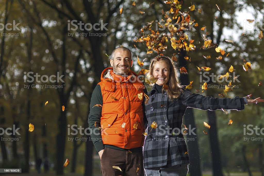 Young couple enjoying Autumn royalty-free stock photo