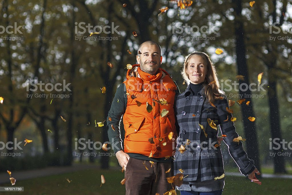 Young couple enjoying Autumn royalty-free stock photo