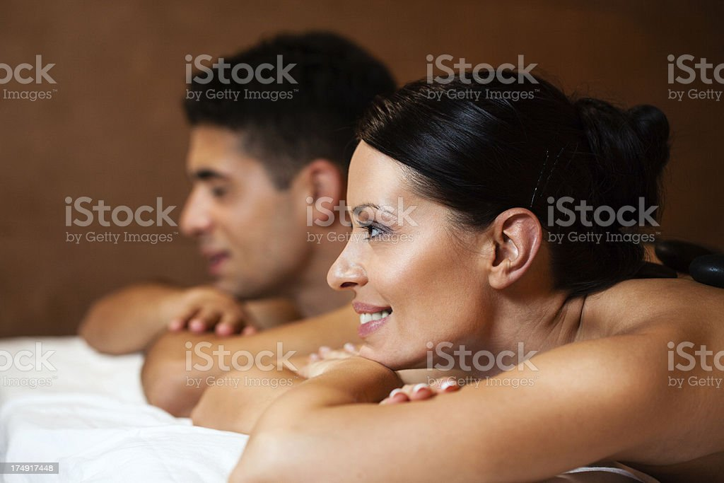Young couple enjoying lastone therapy royalty-free stock photo