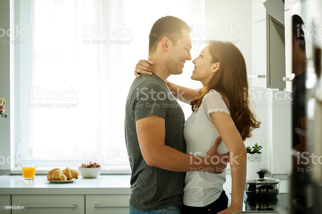Young couple enjoying life together stock photo