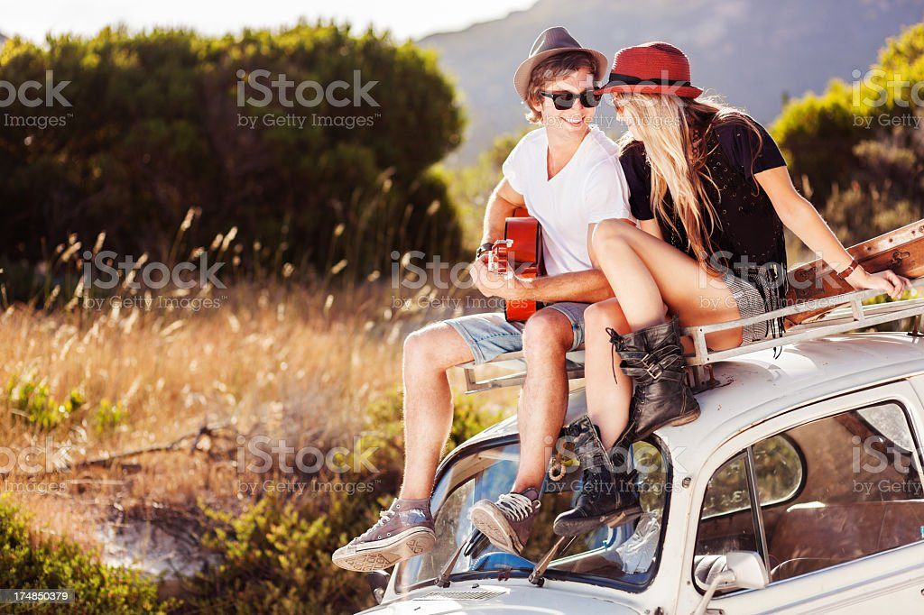 Young Couple enjoying Road Trip royalty-free stock photo