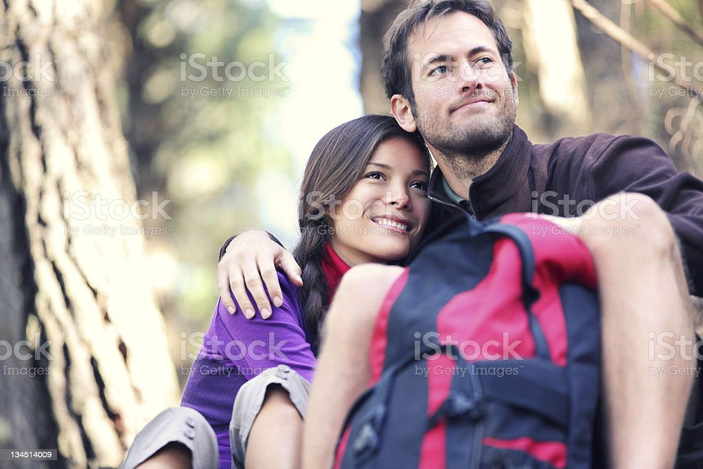 Young couple enjoying the outdoors royalty-free stock photo