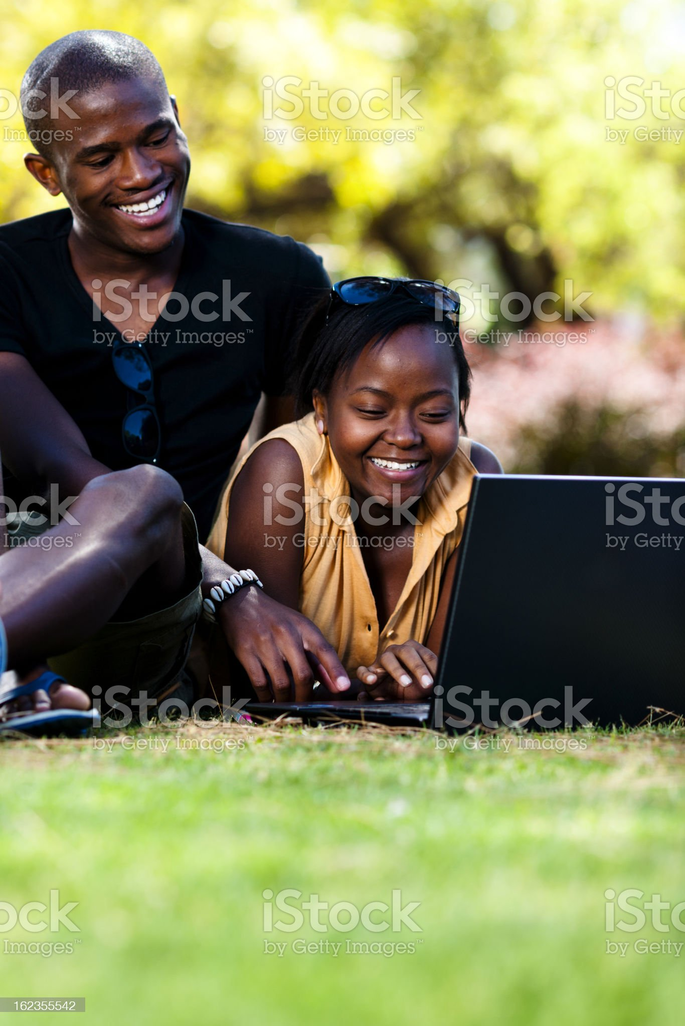Young couple enjoying the sunshine royalty-free stock photo