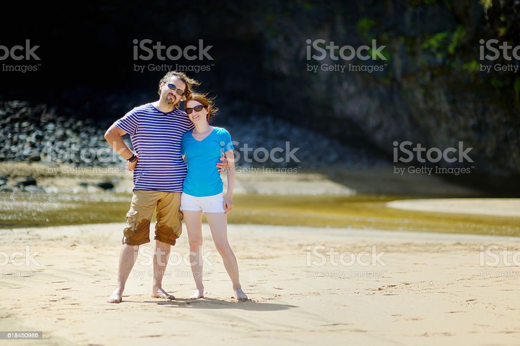 Young couple enjoying tropical vacations stock photo