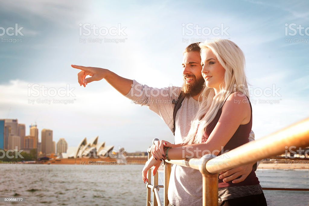 Young couple enjoying view at Sydney Harbour stock photo