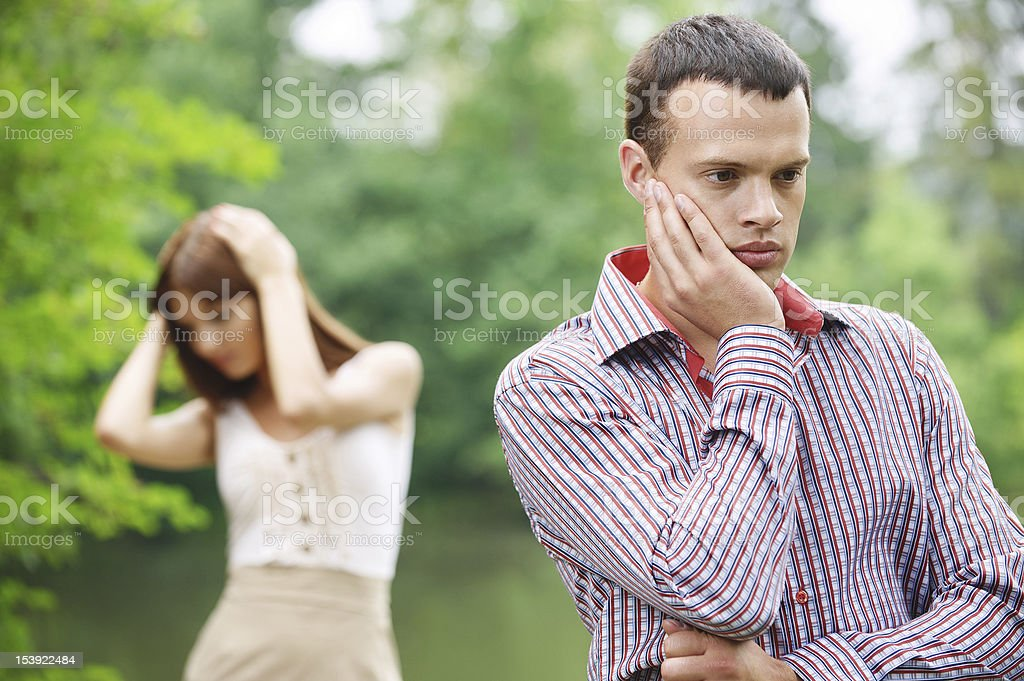 young couple facing problems royalty-free stock photo