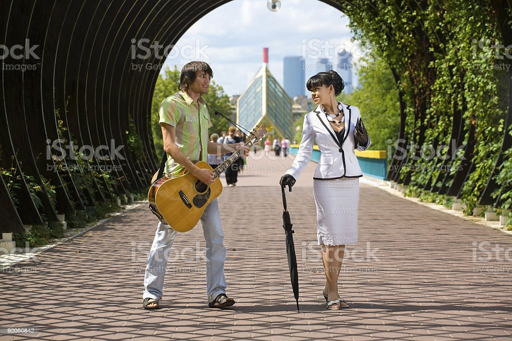 Young couple flirting royalty-free stock photo