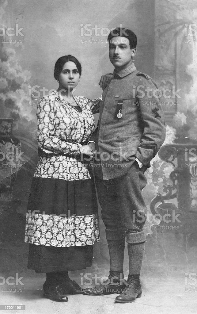 Young Couple from 1917.Black And White stock photo