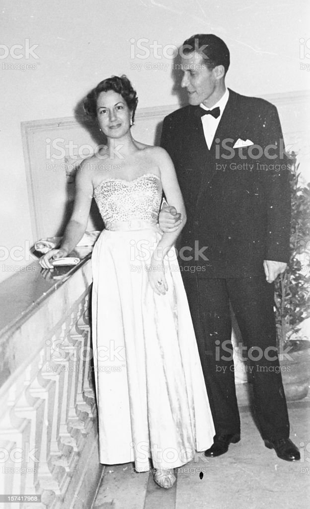 Young Couple from the Fifties, Black And White. stock photo
