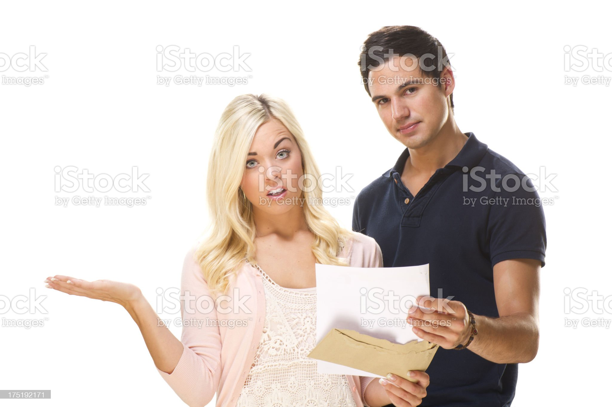 young couple get bad news royalty-free stock photo