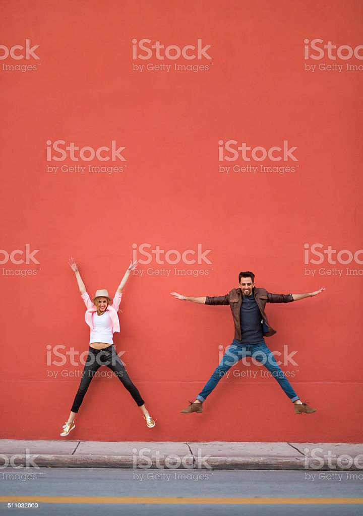 Young couple goofing around stock photo