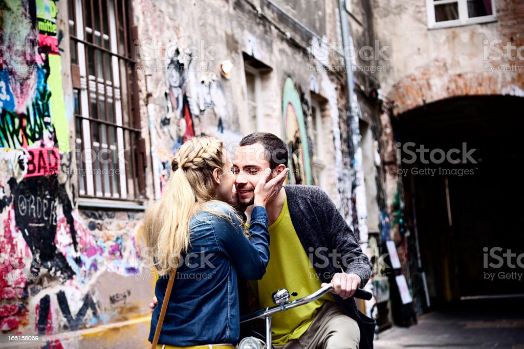 Young Couple Greeting in Alley royalty-free stock photo