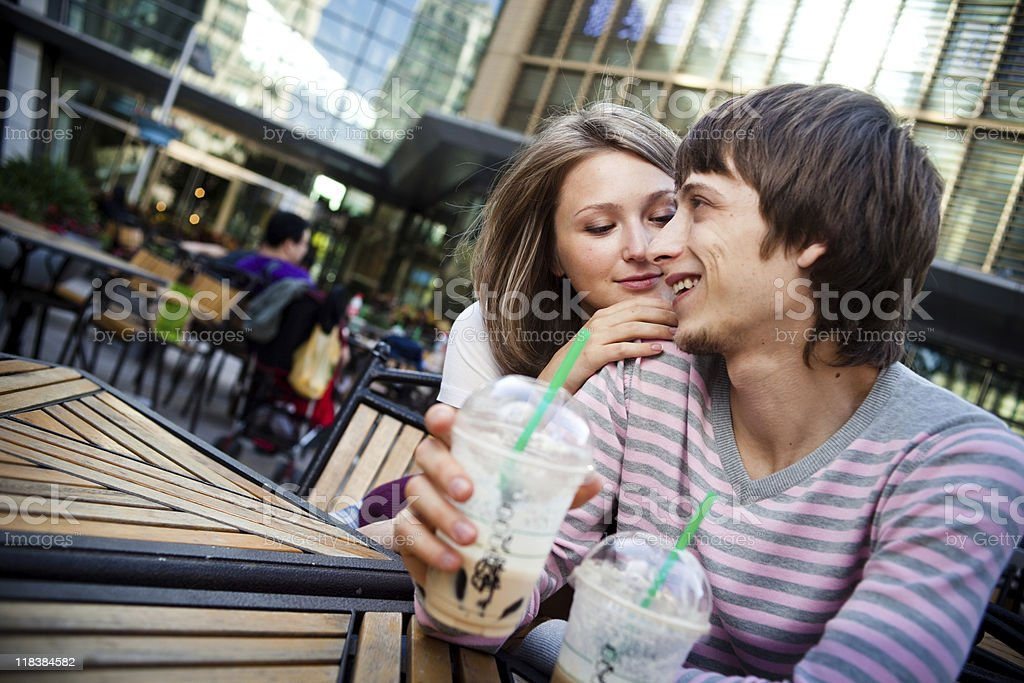 Young couple happy together looking face-to-face royalty-free stock photo