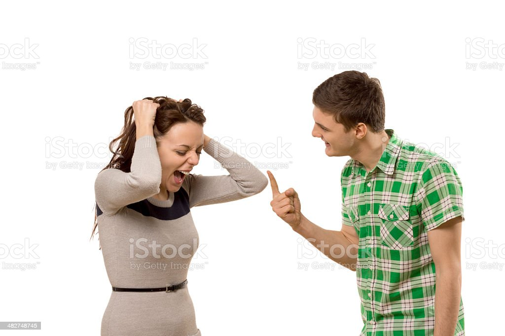 Young couple having a disagreement stock photo