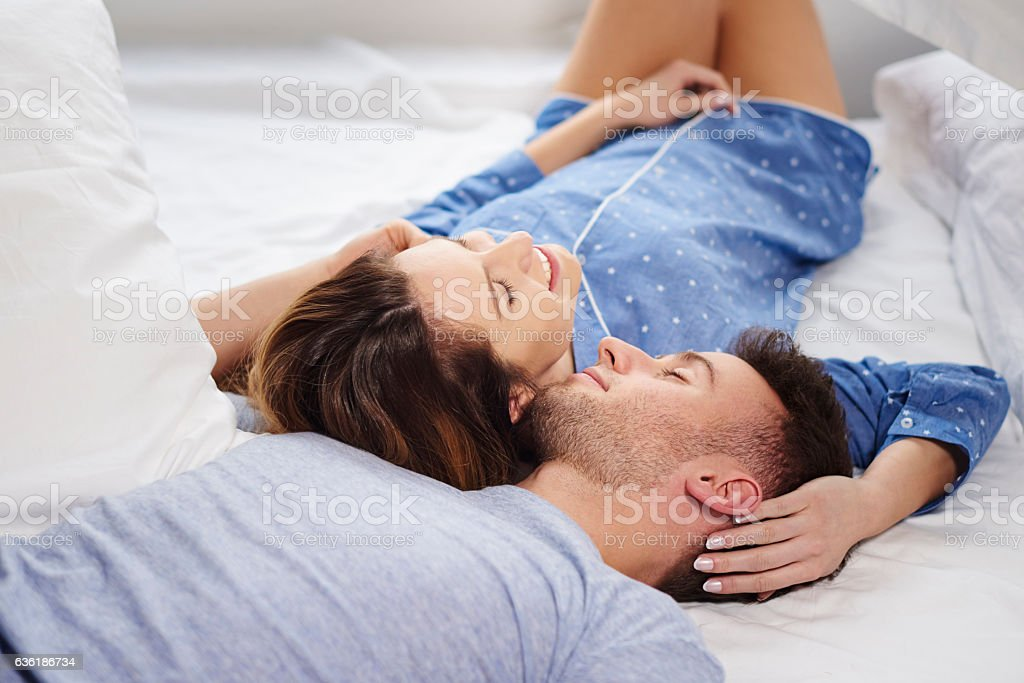 Young couple having a rest at the morning stock photo