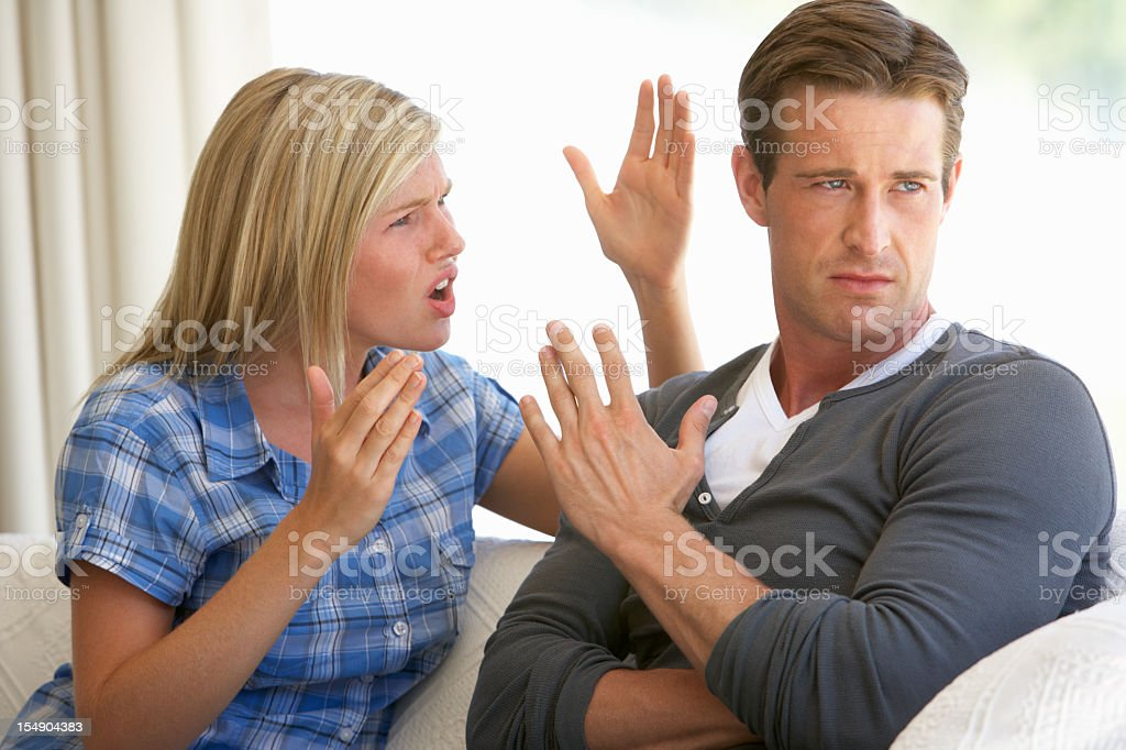 Young Couple Having Argument At Home stock photo