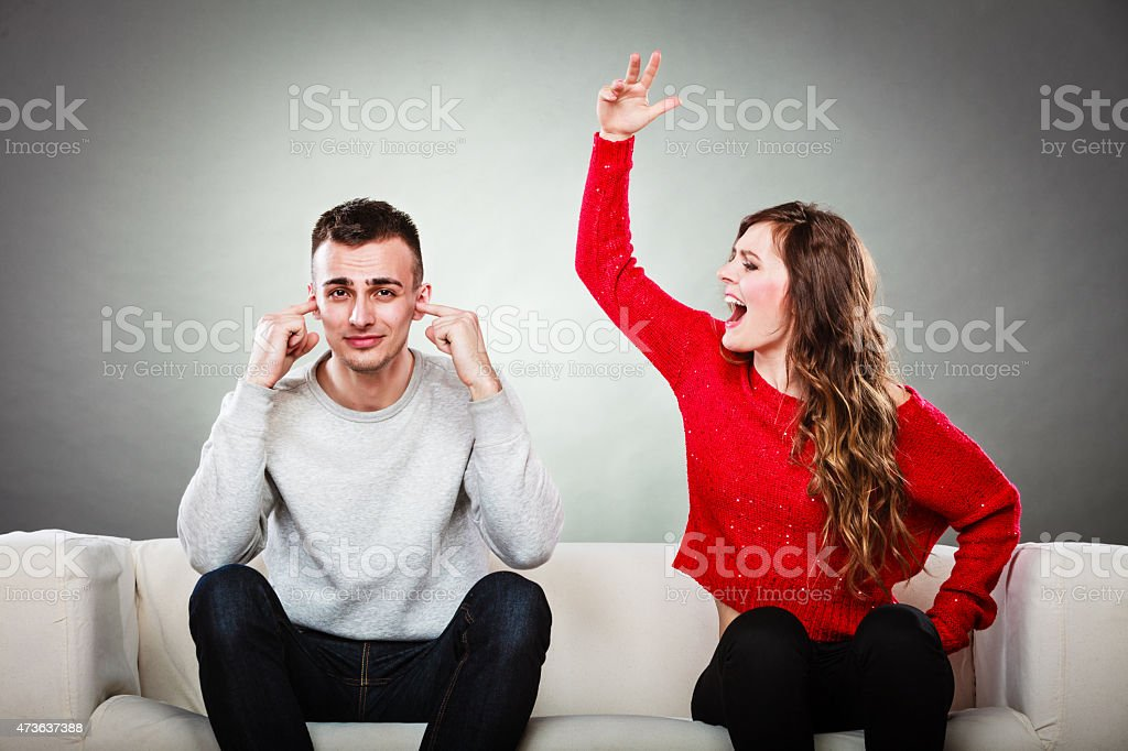 Young couple having argument stock photo