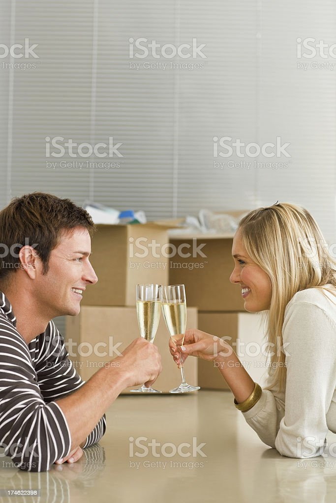 Young couple having celebration royalty-free stock photo