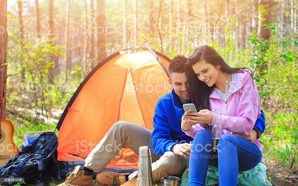 Young couple having fun ooutdoor stock photo