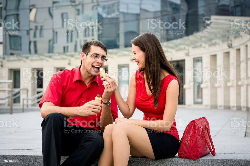 Young couple having icecream royalty-free stock photo
