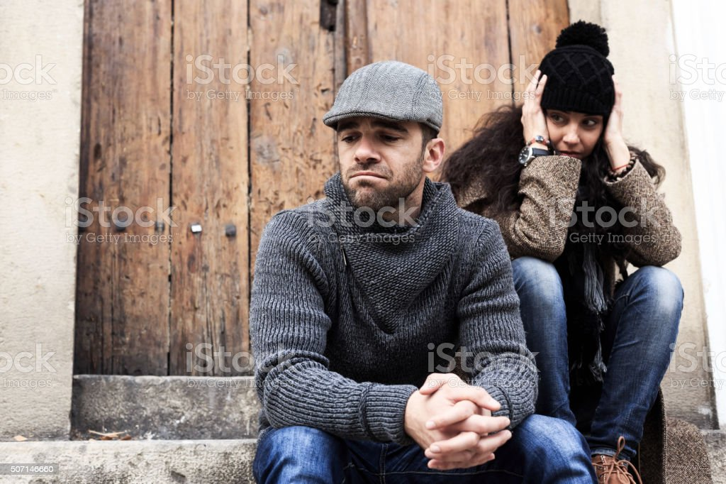 Young couple having relationship problems stock photo