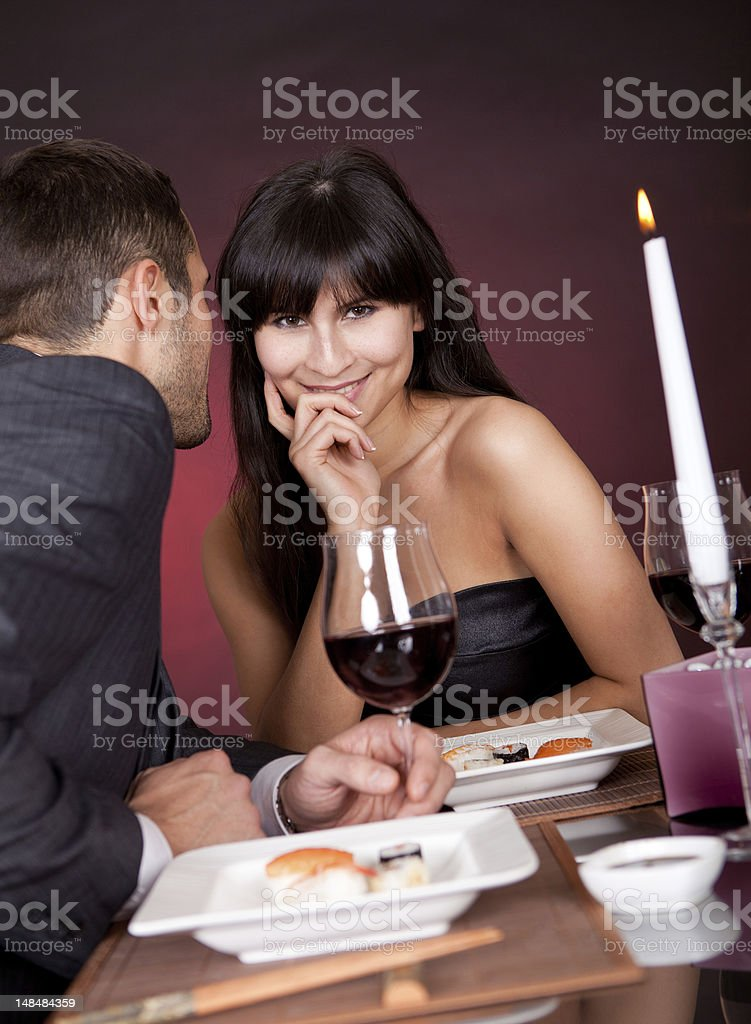 Young couple having romantic conversation royalty-free stock photo