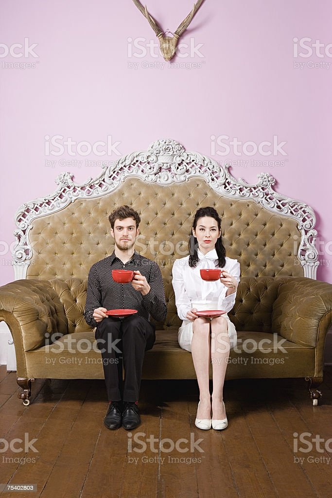 Young couple having tea royalty-free stock photo