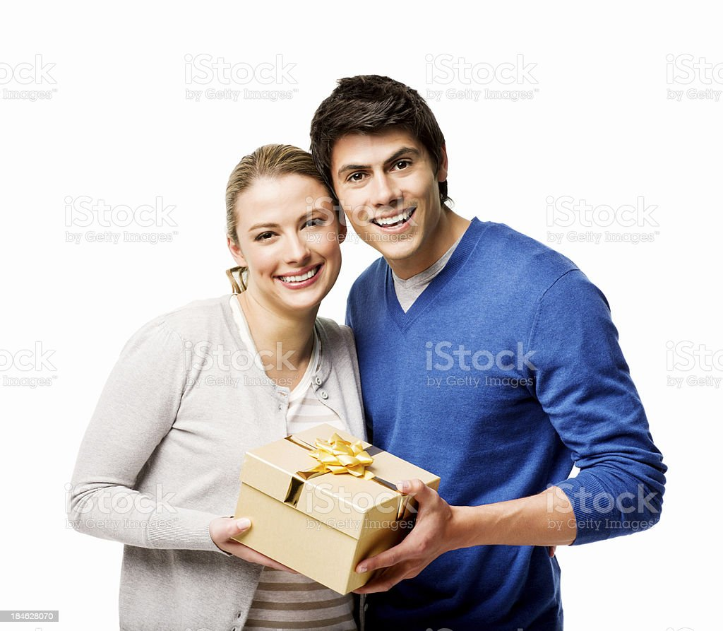 Young Couple Holding a Gift Box - Isolated royalty-free stock photo