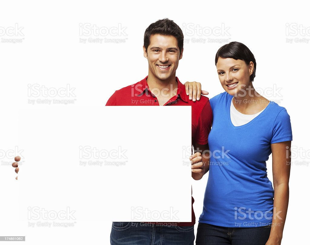 Young Couple Holding Blank Sign - Isolated royalty-free stock photo
