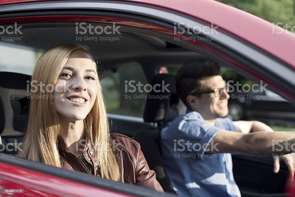Young Couple in a Car royalty-free stock photo