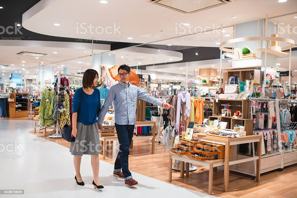 Young couple in a department store stock photo