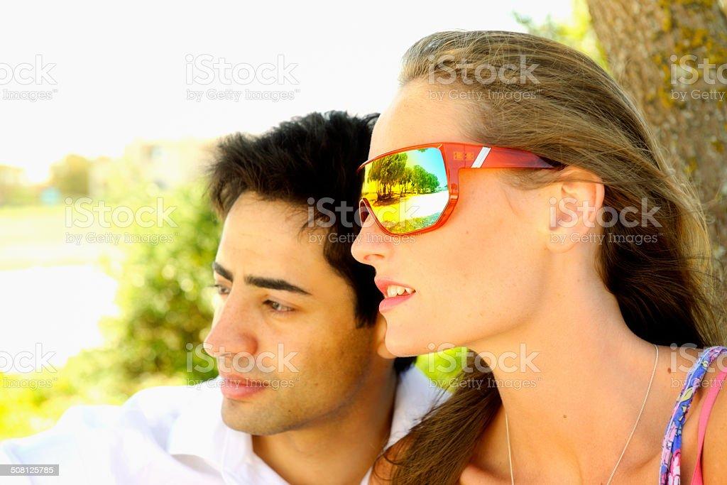 Young Couple in a Garden stock photo