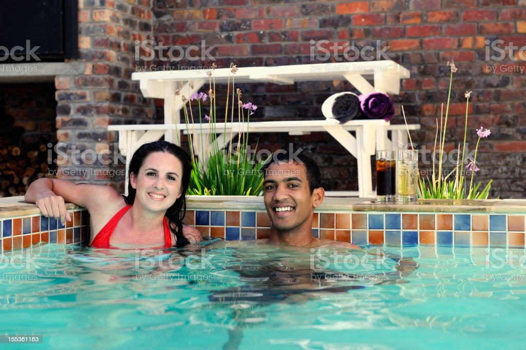 Young Couple in a Pool royalty-free stock photo