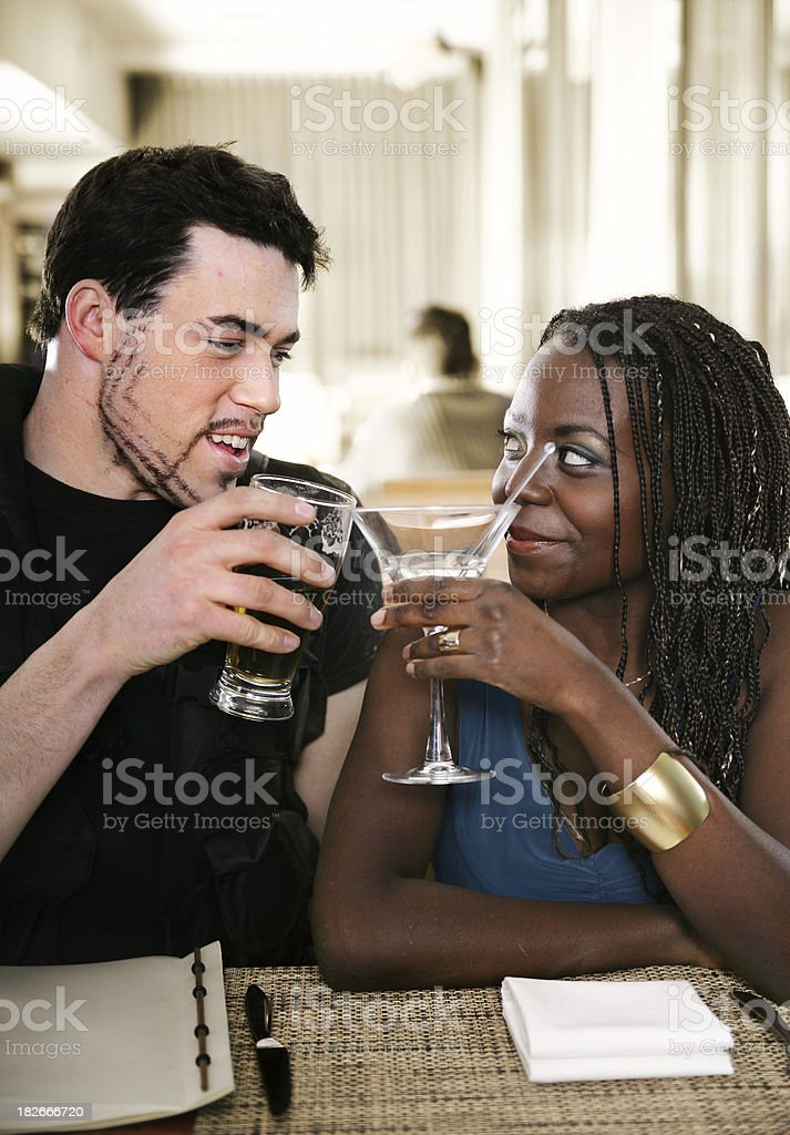 Young couple in a resto-bar royalty-free stock photo