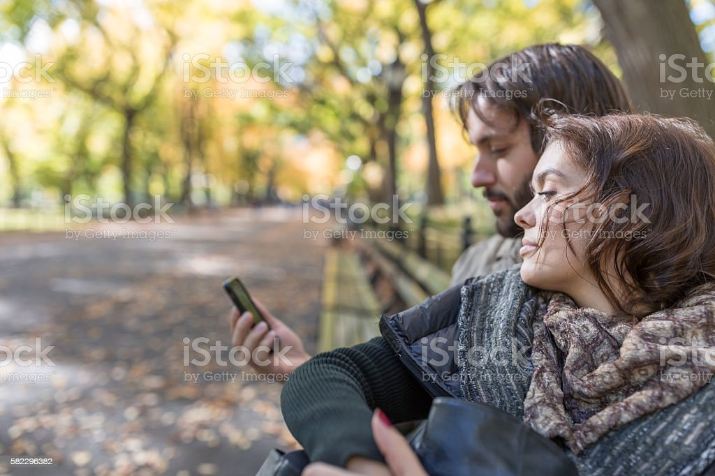 Young Couple in Central Park, New York City stock photo