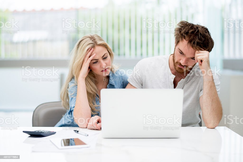 Young couple in financial trouble stock photo